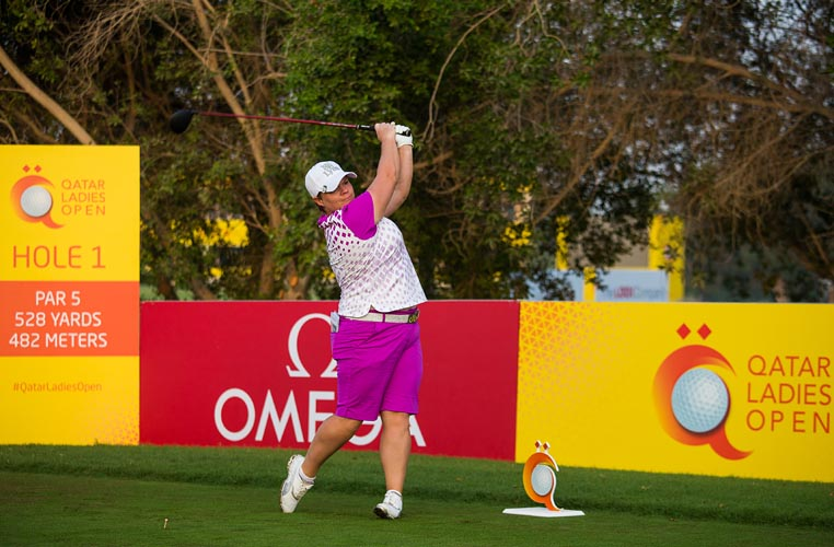 23/11/2016 Ladies European Tour 2016: Qatar Ladies Masters, Doha Golf Club, Doha, Qatar. 23-26 November. Lydia Hall of Wales during the first round. Credit: Tristan Jones