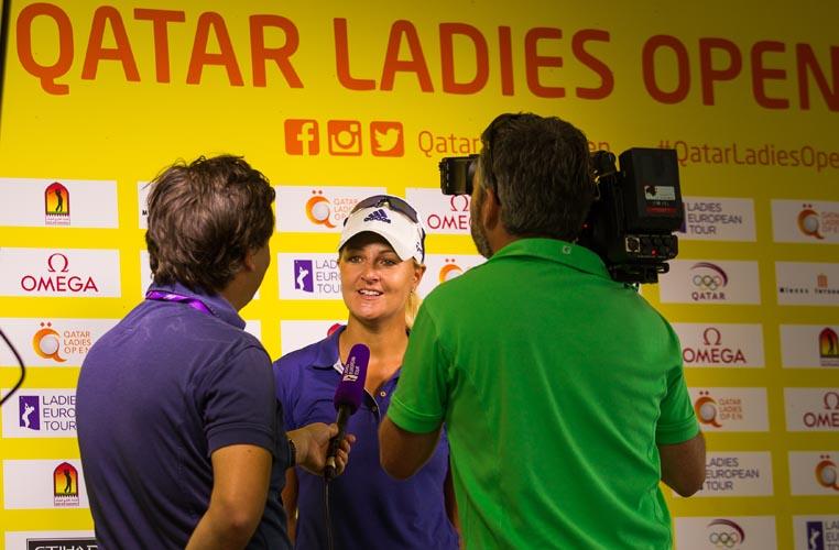 23/11/2016 Ladies European Tour 2016: Qatar Ladies Masters, Doha Golf Club, Doha, Qatar. 23-26 November. Anna Nordqvist of Sweden during her post round interview. Credit: Tristan Jones