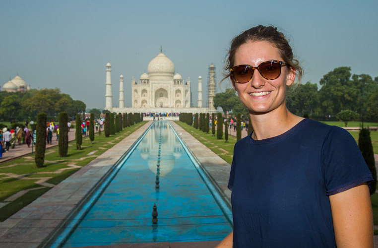 07/11/2016 Ladies European Tour 2016: HERO Women's Indian Open, DLF Country Club, New Delhi, India. 11-13 November. Anne Van Dam of Holland poses for a photo during a trip to the Taj Mahal. Credit: Tristan Jones