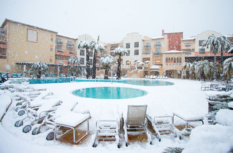 18/01/2017 Ladies European Tour 2016: Rookie orientation, La Sella Resort, Denia, Spain. A view of the pool and hotel during the heavy snow. Credit: Tristan Jones