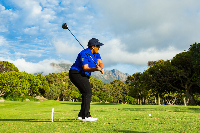 Minister of Sport & Recreation Xasa tees off the Investec SA Women's Open